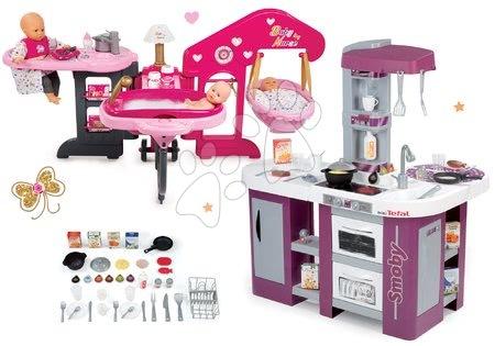 Set bucătărie Tefal Studio XL Smoby cu mașină de spălat vase, frigider şi centru bebe pentru păpuşă