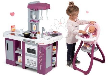 Detské kuchynky - Set kuchynka Tefal Studio XL Smoby s umývačkou riadu a chladničkou a jedálenská stolička pre bábiku Baby Nurse