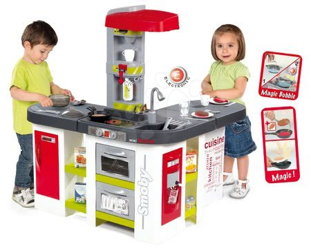 Kuchynka Tefal Studio XXL Smoby elektronická s magickým bublaním a ľadom s 38 doplnkami červeno-zelená