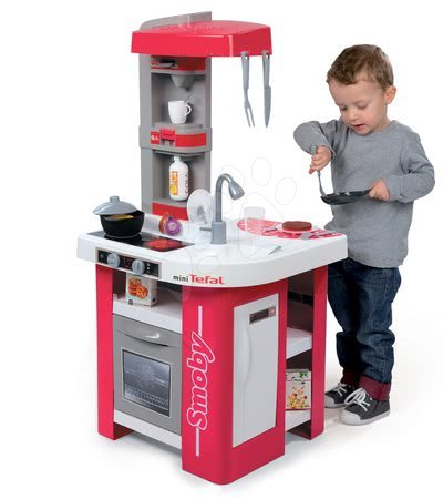 Detské kuchynky - Kuchynka Tefal Studio Smoby elektronická s magickými cestovinami, sódou a kávovarom s 27 doplnkami červeno-šedá_1