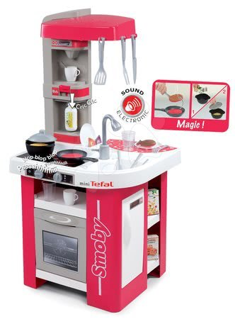 Kuchyňka Tefal Studio Smoby elektronická s magickými těstovinami, sodou a kávovarem s 27 doplňky červeno-šedá