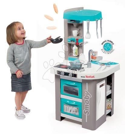 Detské kuchynky - Kuchynka Tefal Studio Bubble Smoby elektronická s magickým bublaním, sódou, kávovarom a 26 doplnkami tyrkysovo-šedá_1