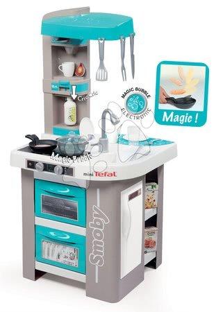 Detské kuchynky - Kuchynka Tefal Studio Bubble Smoby elektronická s magickým bublaním, sódou, kávovarom a 26 doplnkami tyrkysovo-šedá