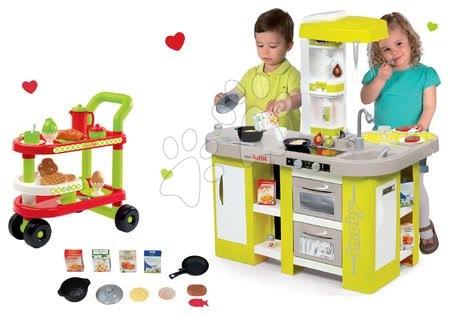 Set kuchyňka elektronická Tefal Studio XL Smoby kiwi se zvuky a servírovací vozík se snídaní 100% Chef