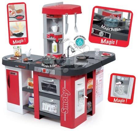 Kuchyňka Tefal Studio XXL Bubble elektronická Smoby s magickým bubláním, sodou, kávovarem, 38 doplňků, červená