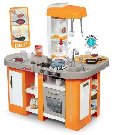 Kuchynka Tefal Studio XL Bubble Smoby elektronická s magickým bublaním, kávovarom a sódou s 34 doplnkami oranžová