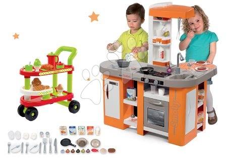 Set kuchynka elektronická Tefal Studio XL Smoby s magickým bublaním a servírovací vozík s raňajkami 100% Chef