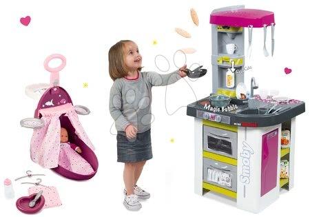 Komplet kuhinja Tefal Studio BBQ Mehurčki Smoby s čarobnim brbotanjem in previjalni voziček Baby Nurse