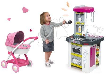 Szett játékkonyha Tefal Studio BBQ Buborékok Smoby mágikus buborékokkal és mély babakocsi játékbabának Baby Nurse (55 cm tolókar)