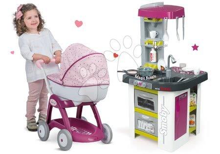 Komplet kuhinja Tefal Studio BBQ Bublinky Smoby s čarobnim brbotanjem in globok voziček za dojenčke Maša in medved (58 cm ročaj)