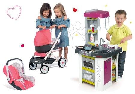 Set bucătărie de jucărie Tefal Studio BBQ Bule Smoby cu bule magice şi cărucior Maxi Cosi 3in1 cu scaun de mașină și leagăn