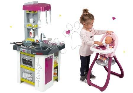 Minnie Mouse - Set kuchyňka Tefal Studio BBQ Bublinky Smoby s magickým bubláním a jídelní židle pro panenku Baby Nurse