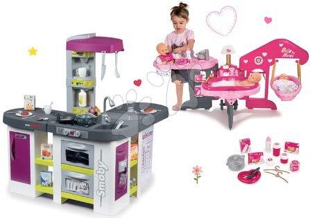Set bucătărie electronică Tefal Studio XXL Bubble Smoby cu barbotare şi centru de bebe Baby Nurse Ediţie aurie