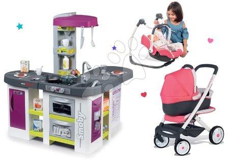 Set bucătărie electronică Tefal Studio XXL Bubble Smoby cu barbotare şi cărucior Trio Pastel Maxi Cosi&Quinny cu scaun de maşină şi leagăn