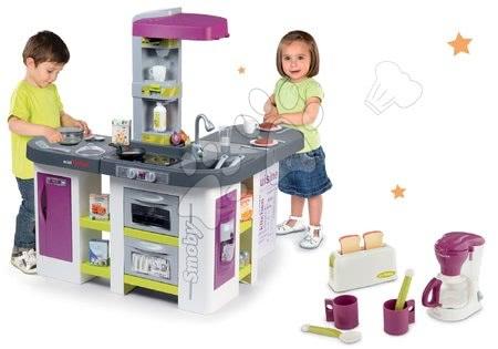 Detské kuchynky - Set kuchynka elektronická Tefal Studio XXL Bubble Smoby s magickým bublaním a raňajkový set s kávovarom a toasterom
