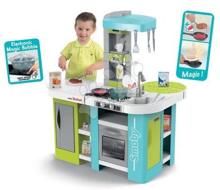 Detské kuchynky - Kuchynka Tefal Studio XL Bubble Smoby elektronická s magickým bublaním tyrkysová a 34 doplnkov