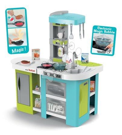 Kuchynka Tefal Studio XL Bubble Smoby elektronická s magickým bublaním tyrkysová a 34 doplnkov