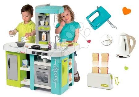 Detské kuchynky - Set kuchynka elektronická Tefal Studio XL Bubble Smoby s bublaním a rýchlovarná kanvica s mixérom a hriankovačom