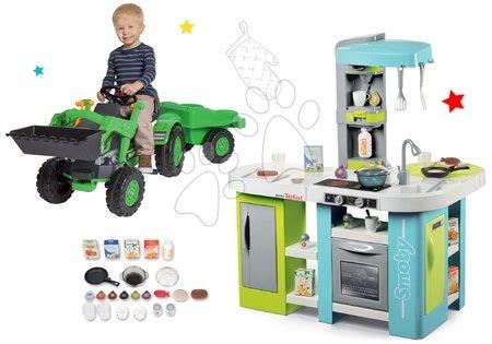 Szett elektronikus játékkonyha Tefal Studio XL Bubble Smoby bugyogással és pedálos traktor Jim Loader