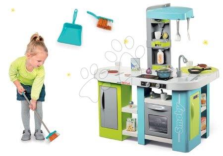 Detské kuchynky - Set kuchynka elektronická Tefal Studio XL Bubble Smoby s bublaním a metla s lopatkou ako darček