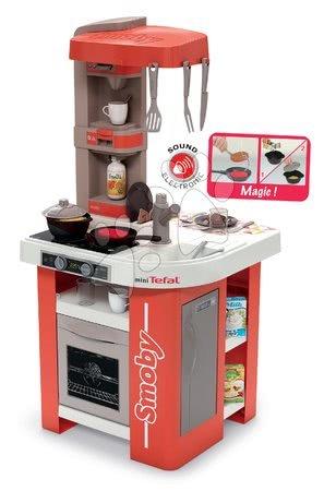 Kuchynka elektronická Tefal Studio 360° Smoby terakota s kuchynskými zvukmi magickými potravinami a 27 doplnkov