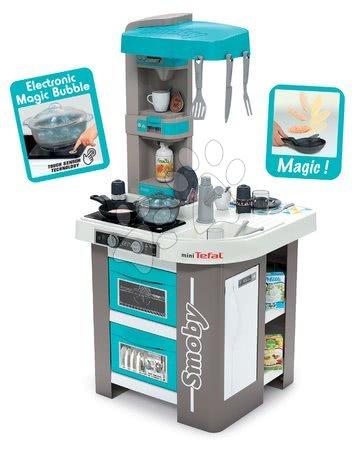 Detské kuchynky - Kuchynka elektronická Tefal Studio 360° Bubble Smoby tyrkysová s magickým bublaním a 28 doplnkov