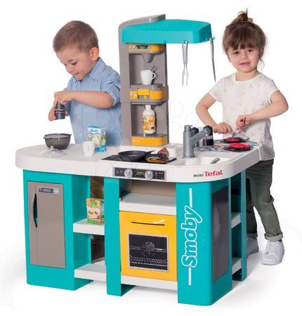 Detské kuchynky - Kuchynka elektronická Tefal Studio 360° XL Bubble Smoby tyrkysovo-žltá s magickým bublaním a cestovinami s 34 doplnkami_1