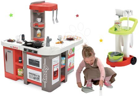 Detské kuchynky - Set kuchynka elektronická Tefal Studio 360° XXL Bubble Smoby mrkvová a upratovací vozík s metlou ako darček