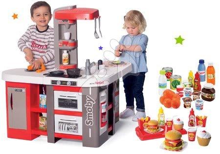 Detské kuchynky - Set kuchynka elektronická Tefal Studio 360° XXL Bubble Smoby mrkvová a potraviny s hamburgermi na tácke