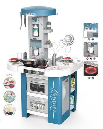 Detské kuchynky - Kuchynka s technickým vybavením Tech Edition Smoby elektronická s mnohými zvukmi a svetlami a 35 doplnkov 100 cm vysoká
