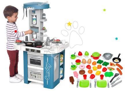 Detské kuchynky - Set kuchynka s technickým vybavením Tech Edition Smoby elektronická s riadom a potravinami 50 dielov ako Darček
