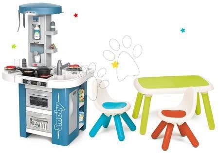 Játékkonyhák - Szett játékkonyha műszaki felszereléssel Tech Edition Smoby elektronikus és asztal két székkel