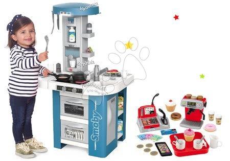 Detské kuchynky - Set kuchynka s technickým vybavením Tech Edition Smoby elektronická a malá kaviareň s Espresso kávovarom a zákuskami