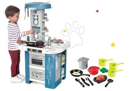 Detské kuchynky - Set kuchynka s technickým vybavením Tech Edition Smoby elektronická s hrncami a riadom
