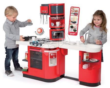 Detská kuchynka CookMaster Smoby elektronická so zvukmi, s ľadom, opečenými potravinami a 36 doplnkami červená