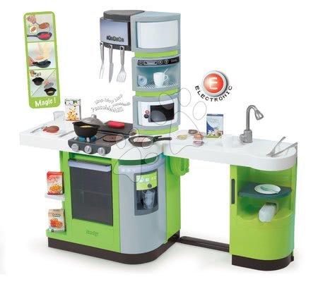 Detské kuchynky - Kuchynka CookMaster Verte Smoby elektronická so zvukmi, s ľadom, opečenými potravinami a 36 doplnkami zelená
