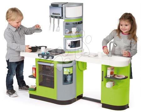Detské kuchynky - Kuchynka CookMaster Verte Smoby elektronická so zvukmi, s ľadom, opečenými potravinami a 36 doplnkami zelená_1