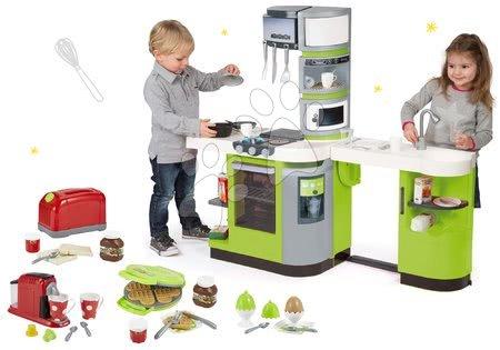 Elektronické kuchynky - Set zelená kuchynka CookMaster Verte Smoby s ľadom zvukmi a hriankovač s kávovarom a vaflovač