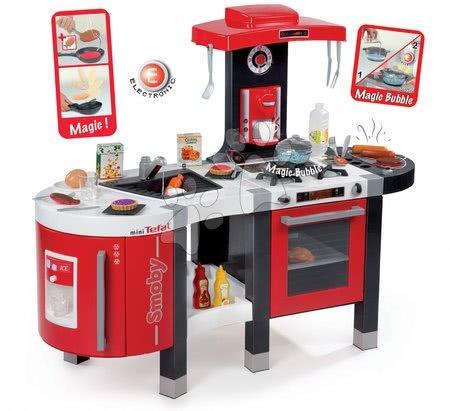 Kuchynka pre deti Tefal French Touch Bublinky&Voda Smoby elektronická s magickým bublaním, tečúcou vodou a 45 doplnkami červeno-šedá