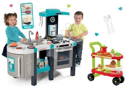 Elektronické kuchynky - Set kuchynka elektronická Tefal French Touch Bubble Smoby s magickým bublaním a servírovací vozík s raňajkami 100% Chef