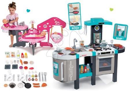 Set bucătărie electronică de jucărie Tefal French Touch Bubble Smoby cu barbotare magică și centru bebe pentru păpuşa de jucărie Baby Nurse