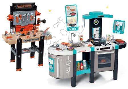 Set bucătărie electronică Tefal French Touch Bubble Smoby turcoaz cu barbotare magică și atelier de lucru Black+Decker cu sunete