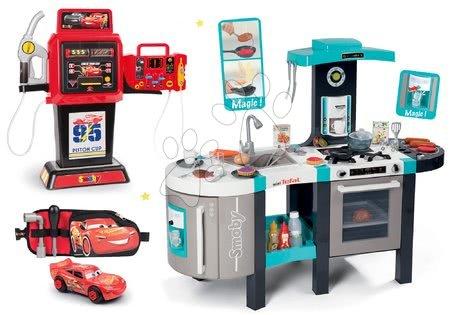 Set bucătărie electronică Tefal French Touch Bubble Smoby turcoaz cu barbotare magică și benzinărie Maşini 3 și mașinuță pe curea cu unelte