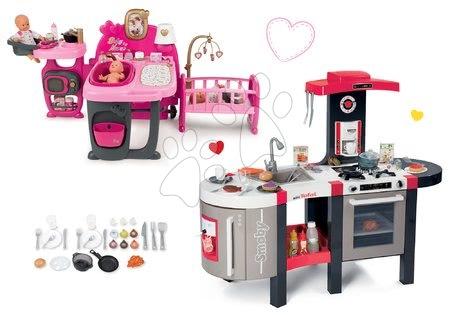 Szett elektronikus játékkonyha Tefal French Touch Bubble Smoby bugyogással és babacenter Baby Nurse Doll's Play Center