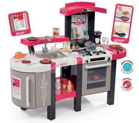 Játékkonyha Tefal Super Chef Deluxe Smoby elektronikus mágikus fazékkal grillel jéggel és 46 kiegészítővel eperszín-bézs