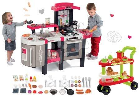 Set červená kuchyňka Tefal Superchef Smoby se zvuky, ledem grilem a servírovací vozík se snídaní 100% Chef