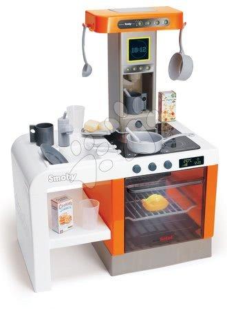 Detské kuchynky - Kuchynka Tefal Cheftronic Orange Smoby elektronická so zvukom a svetlom a 20 doplnkov 62 cm vysoká
