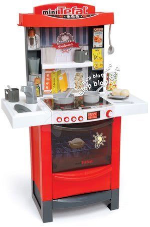 Kuchynka Cook´tronic Tefal Smoby elektronická so svetlom a zvukmi s 20 doplnkami červená