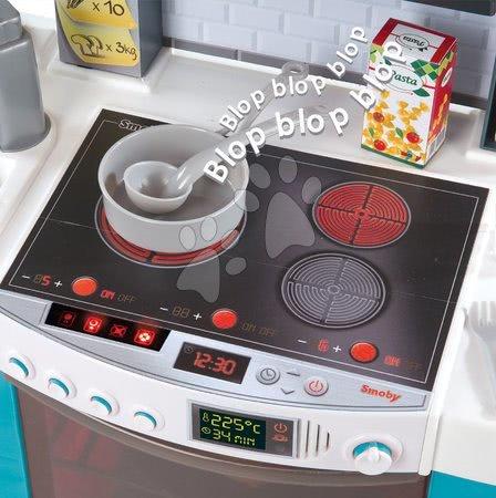 Detské kuchynky - Kuchynka Cook´tronic Bubble Smoby elektronická s magickým bublaním, svetlom a zvukmi a 21 doplnkami tyrkysová_1