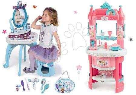 Szett játékkonyha Hercegnők Smoby kétoldalas, tornyokkal és 19 kiegészítővel és pipere asztal kisszékkel és pipere táska